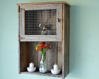 Rustic Wall Cabinet, Reclaimed Wood Wall Cabinet, Bathroom Wall Cabinet, Kitchen Wall Cabinet