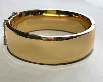 Gold Plated  hinged  Bangle - Victorian revival Jewelry