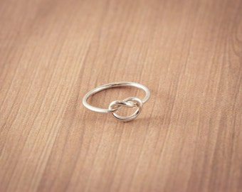 Love Knot Ring,  Sterling Silver,  Hand made, Friendship Ring, Promise Ring, Valentine's Ring, Gift