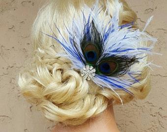 Peacock Hair Fascinator, Wedding Hair Clip, Bridal Hair Clip, Bridal Hair Comb, Peacock Feather Hair Clip, Peacock Feather Fascinator