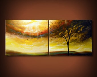 Colorful cloud painting, large abstract painting 22x56, trees art, large abstract art, original art, office wall art, colorful office decor