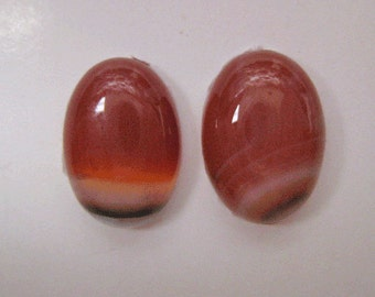 CABOCHONS ** AGATE CABOCHONS ** Brazilian Agate Pair of Cabochons