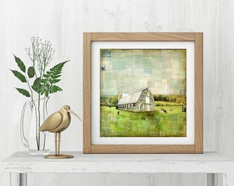 "Farm Print: Mixed Media Photography, Barn Print, Farm Art, Barn Art, Vermont Art Print, Country, 8""x8"" (203mm) or 12""x12"" (304mm) ""Barn III"""