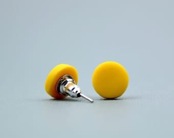 Mustard Yellow Earrings, Minimalist Yellow Earrings, Mustard Studs, Round Studs, Simple Earrings, Mustard Accessories, Bright Yellow Studs