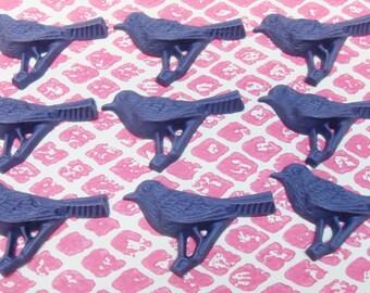 5 x Purple Bird Cabochon ensemble