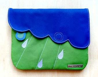 Cute Fabric Vegan Clutch Purse Zip Pocket BLUE APPLE GREEN Color Purse Raindrops Clouds Rainy Cloudy Rain Water Droplets Theme Kawaii Gifts