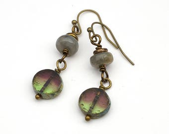 """Green and rose earrings, antiqued brass French hooks, labradorite and Czech glass, 1 11/16"""" long"""