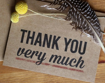 Thank You Card Set of 20 - Thank You Very Much Kraft Thank You Cards