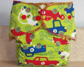 Fitted Small Cloth Diaper- 6 to 12 pounds- Vehicles- 17014