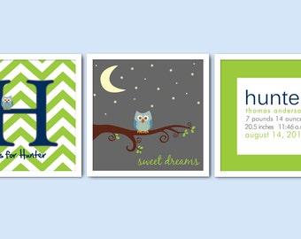 Set of 3 Monogram Owl Nursery Prints/Sweet Dreams/Chevron Nursery/Birth Announcement/Alphabet Letter/Boy's Nursery/8x8, 8x10, 10x10, 12x12