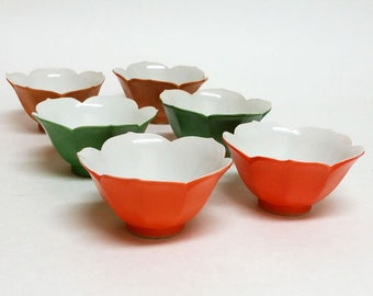 Six Vintage Lotus Bowls Japan