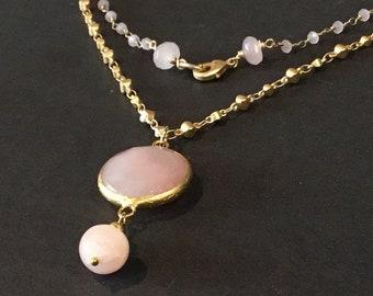 Gold rose quartz necklace - Gold rose quartz - Rose quartz necklace - Rose quartz gold necklace - Pink quartz necklace
