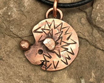 Copper Penny Hedgehog Pendant w/ Cord Necklace