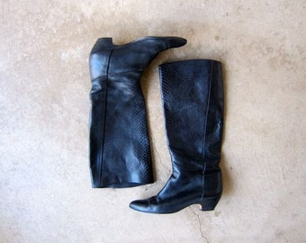 Vintage Tall Leather Boots 90s Black Leather Fashion Boots Slouchy Italian Boots Riding Boots Womens 8.5 or 9N