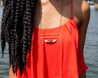 DESERT | Geometric Arch Gold Brass Necklace