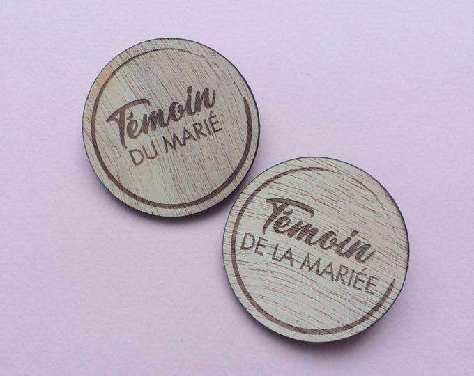 Badges bois ronds (témoins/famille/prénoms)