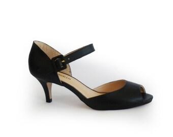 Women's shoes sale, Peep toe shoes, Black pumps, Black peep toe heels, Summer heels, Open toe heel, Leather shoes