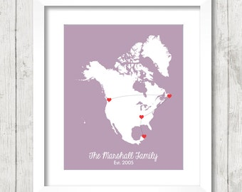8x10 North America Family Map - Long Distance Family - St. John's, Newfoundland - Vancouver, BC - Nashville, Tennessee - Cancun, Mexico