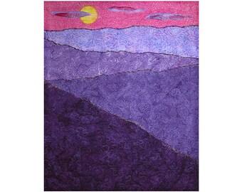 Art Quilt, Fabric Wall Hanging, Mountain Sunset Fiber Art, Fabric Landscape