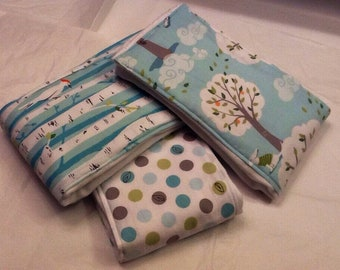 Woodland baby burp cloths in Michael Miller Backyard Baby on Oso Cozy diapers