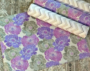 Purple and Grey Table Mats - Quilted Placemats - Floral Placemats - Kitchen Decor - Home Decor - Table Decor - Fabric Placemats