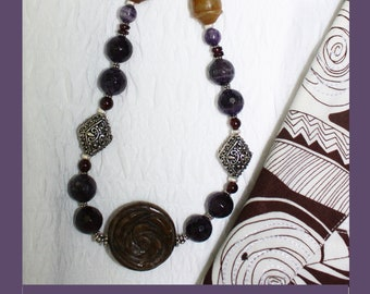 Dark Amethyst Necklace With Large, Carved Focal Stone.  Sterling Silver!