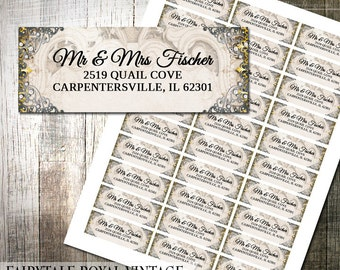 Vintage Fairytale Address Labels DIY Avery Labels for Printing Yourself Gold and Silver Ornate Label Printable Address Label Digital File