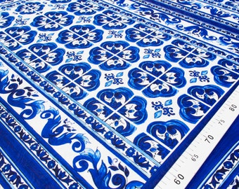 Blue jacquard fabric price by the pattern repeat 1 yard #4411