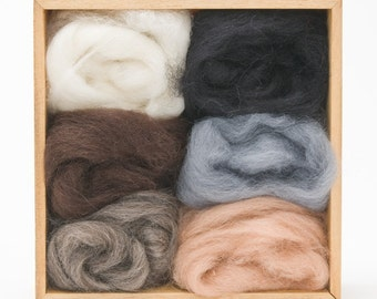 Neutral Wool Roving Colors Set for Felting - Corriedale