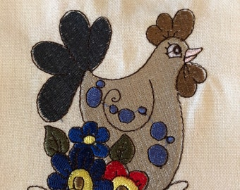 Embroidered Whimiscal Folk Art Laying Hens 100% cotton kitchen towels