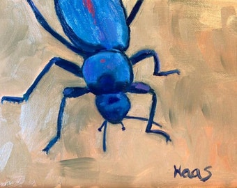 Original Artwork, Blue Beetle, Insect Painting, Entomologist Gifts, for Him, for Her, Contemporary Art, Birthday Gift, Bug Lovers, Bug Lover