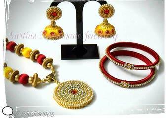 Party wear Red n Golden Yellow Silk Thread set