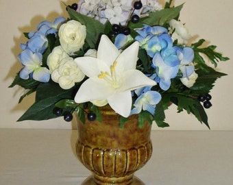 Lily and Hydrangea Silk Floral Centerpiece, FFT Original, Wedding or Home Decoration, Blue and White Flowers in Ceramic Vase, Made to Order