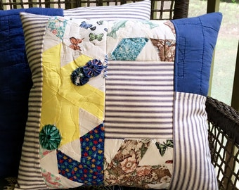 Vintage Quilt & Blue Ticking Pillow -  Patchwork Pillow - Multi Country Quilt Pillow Cover - Yellow Farmhouse