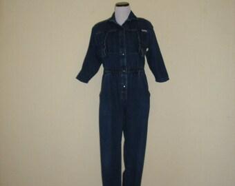 80s denim jumpsuit by Dreams. Mechanic style jumpsuit, snap front denim onesie, minimum fade, soft cotton jumper, size S-M.