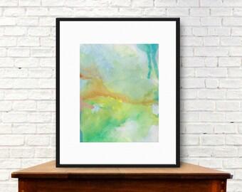 Decorative art print, digital download, citron green and yellow art print, abstract modern home decor, watercolor art, contemporary wall art