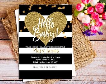 Black White Stripes baby shower Invitation, Gold oh baby baby shower Invitation, Meet and Greet invitation, printable baby shower invite boy