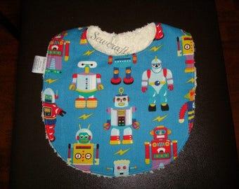 Boy bib, Chenille bib, feeding bib, baby boy bib, Robots Bib with Super Absorbent Chenille backing and sewn in Snap Closure -Ready To Ship