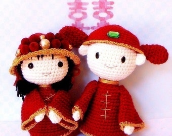 Amigurumi pattern - Chinese Wedding - 2 Crochet Amigurumi doll tutorial PDF