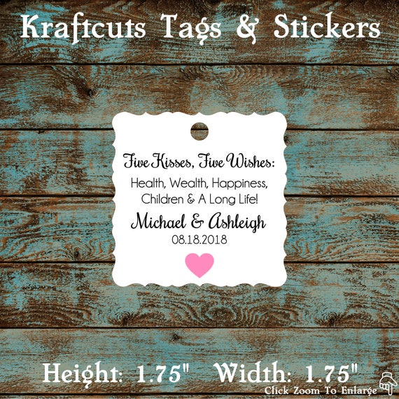 Five Kisses Five Wishes Favor Tags, Five Wishes Poem Favor Tags #764 Qty: 30 Tags