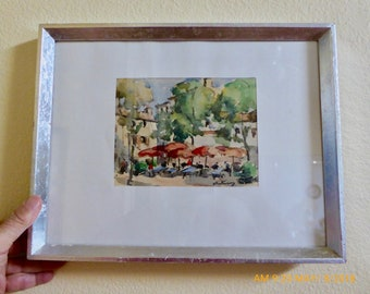 1950's Paris Watercolors, Pont Neuf and Street Cafe: Artist's Signature Unidentified
