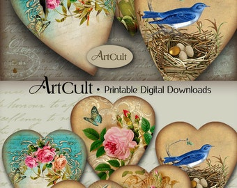 Printable download Valentine Images HEART GIFT TAGS No3 Digital Collage Sheet Jewelry Holders Vintage Paper Craft scrapbooking by ArtCult