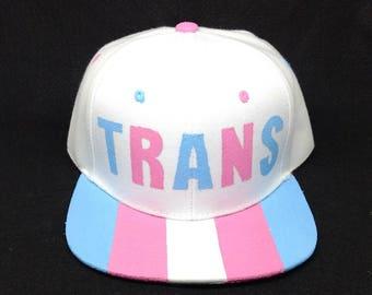 Transgender Pride Snapback Hat LGBTQ+ Trans Man Trans Woman Trans Boy Trans Girl Nonbinary Gender Parade Festival Androgynous Fashion