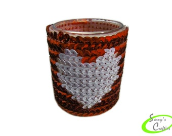 Votive Candle Cover - Sequin Candle Sleeve - Love - Valentine - Heart - Red and White - C049