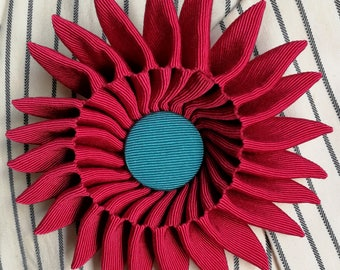 Magenta & Turquoise Grosgrain Ribbon Brooch 12cm