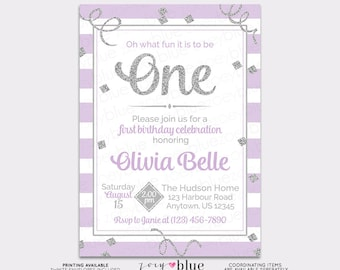 Lilac Silver Girl First Birthday Invitation Grey Glitter 1st birthday The Big One Purple Oh what fun to be ONE Confetti Printable Invite