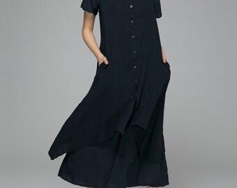 navy dress, linen dress, shift dress, casual dress, summer dress, beach dress, sun dress, midi dress, tiered dress, womens dresses 1402