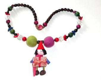 Upcycled Assemblage Necklace,Santa's  Elf  Whimsical wood ornament Pendant with a gift for you ,Vintage Beads OOAK