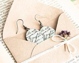 Anique letter earrings love letter, beige romantic jewelry, oval earrings dangle
