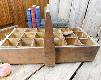 Rustic Vintage Handmade Divided Wood Tool Carrier - Milk Cartons